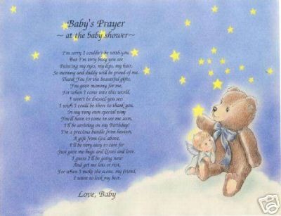 BABY SHOWER Poem Personalized Name Print Prayer ~