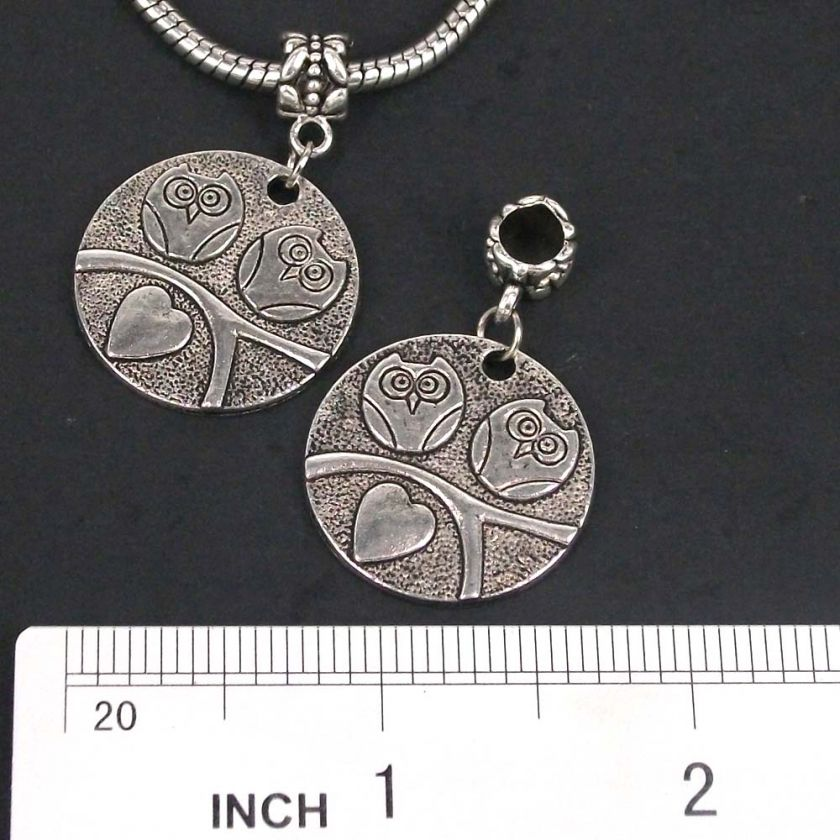 lots 30pcs Tibetan silver Owl DANGLE Charms Bead