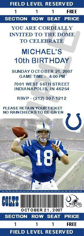 12 Indianapolis Colts Birthday Ticket Invitations