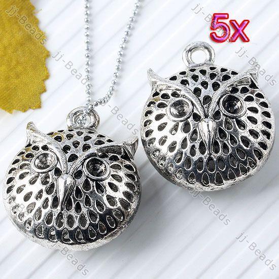 5Pc Tibetan Silver Hollow Animal Owl Charm Pendant Bead Zinc Alloy