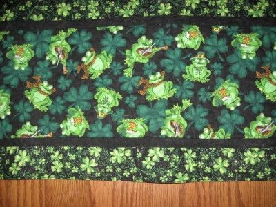 Handmade Quilted Table Runner St Patricks Day Frogs Valentines Day