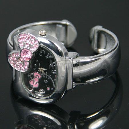 New Lovely Alloy HelloKitty Lady Girls Crystal Quartz Wrist Bracelet
