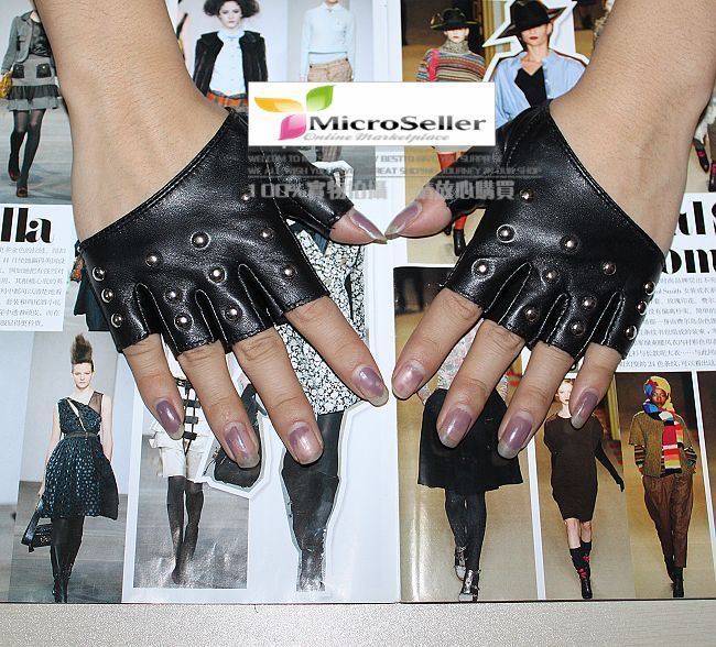 Ladies Cool Rivets Fingerless Leather Fashion Gloves