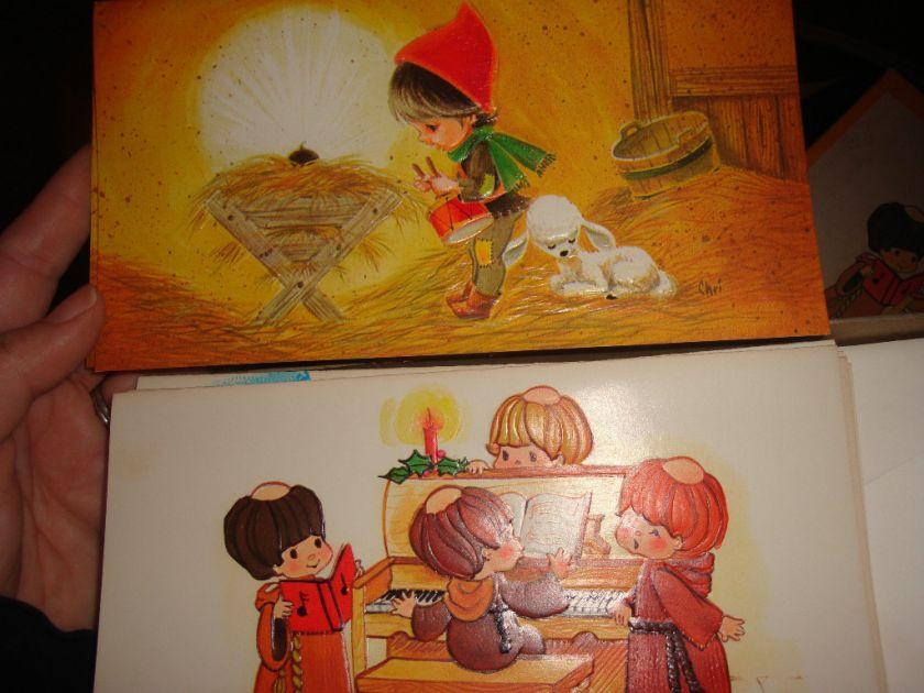 SET OF 12 VINTAGE CHRISTMAS CARDS~IN BOX~CHILDREN MONKS~ENVELOPES