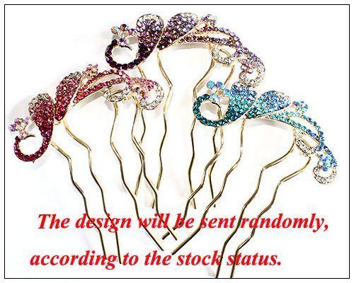 Fine Peacock rhinestone crystal hair comb stick clip accessory fashion