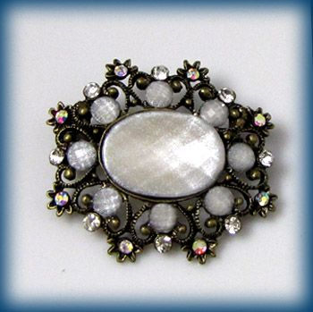 antiqued rhinestone crystal flower brooch pin