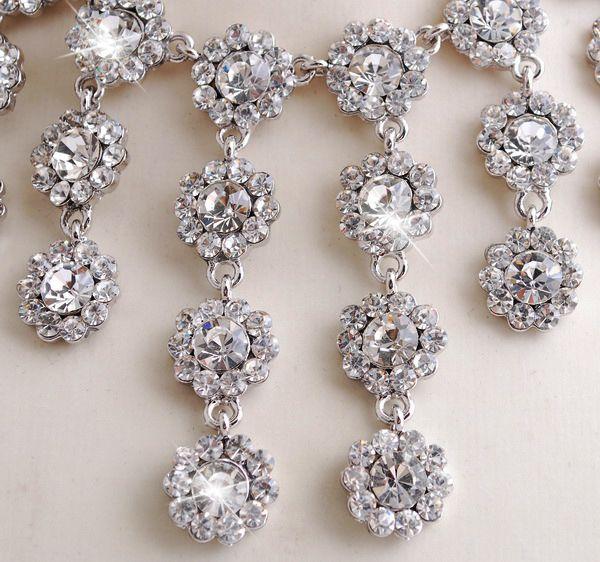 White Rhinestone White Gold Plated Necklace&Earring SET