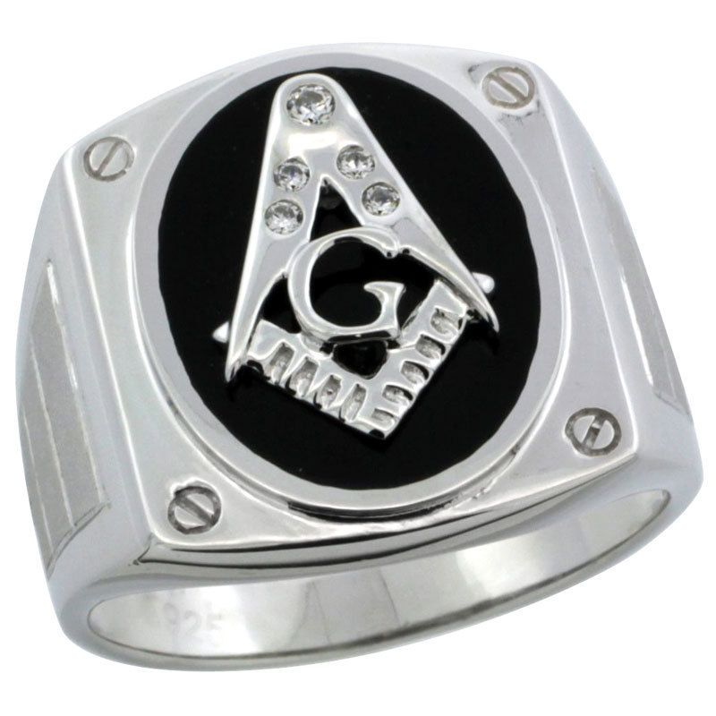 Sterling Silver Mens Black Onyx MASONIC Ring w/CZ Stones & Screw