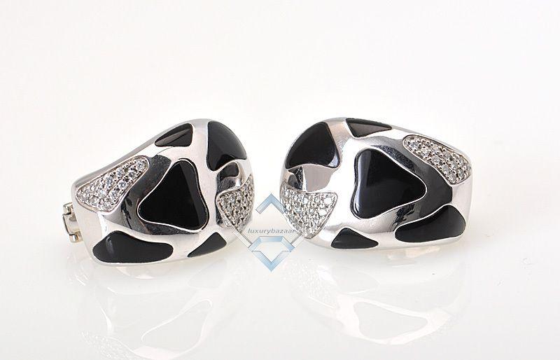 Roberto Coin Yellow White Gold Diamond Onyx Earrings