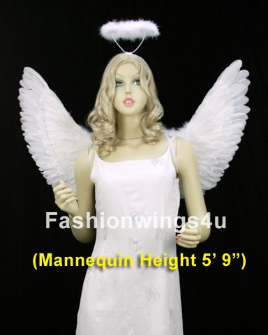 White adult costume feather angel wings headband halo fairy dove bird