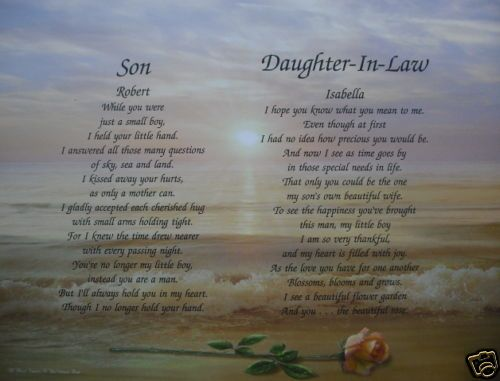 SON & DAUGHTER IN LAW PERSONALIZED POEMS CHRISTMAS GIFT